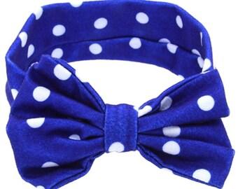Blue polkadot headband