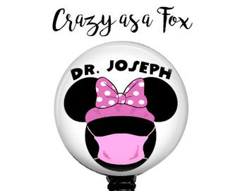 Personalized Doctor Minnie Mouse Retractable Badge Holder, Badge Reel, Lanyard, Stethoscope ID Tag, Doctor, Surgeon, Surgical Tech, OR Nurse