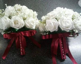Bridesmaids Bouquets in Ivory with burgundy ribbon x2