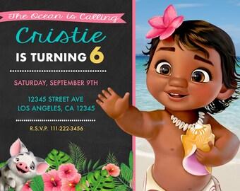 Moana Baby Birthday Invitation