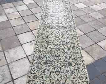 Free Shipping! Runner Rug Size: 2.7x12.5ft (85x383cm) Vintage,Oushak,Persian,Isparta Yolluk, Wool,Turkish Rug , Oriental,Handmade,Anatolian