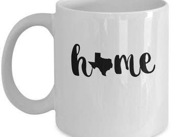 Texas Home - High Quality Cute White & Black Ceramic 11 oz or 15 oz Mug - Texas Pride Icon Texan Y'All Birthday Mom Wife Girlfriend Gift