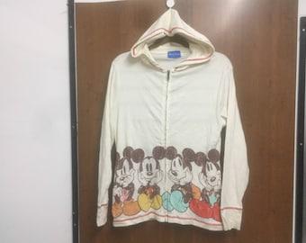 MICKEY MOUSE Hoodies Sweater Vintage   Disney Resort Tokyo   Sweatwear Hoodies Jacket Full Zip   Medium Size