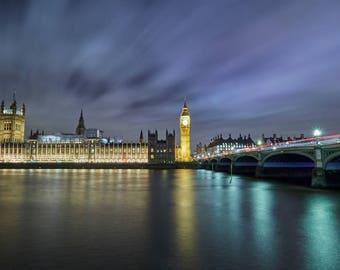 Colour photograph of London - Big Ben Westminster Bridge