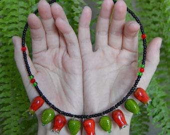 Pomegranate beads | Jewelry | Necklace | Garnet  |Ceramic Jewelry