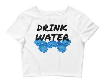 DRINK WATER Blue Floral Women's Crop Tee