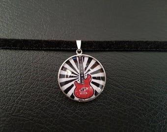 Crew neck Choker necklace black cabochon guitar rock