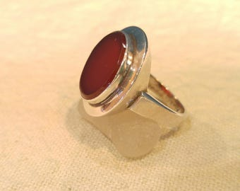 Silver and Agate Modern Ring- Perfect Circle- Red Agate- Sterling Rings- Southwestern Jewelry- Modern Jewelry- Big Rings- Statement Rings