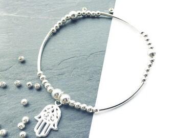 Hamsa Hand Bracelet, Silver Bracelet, Hand of Fatima, Friendship Bracelet, Evil Eye Bracelet,  Gift For Her, Beaded Bracelet, FREE DELIVERY
