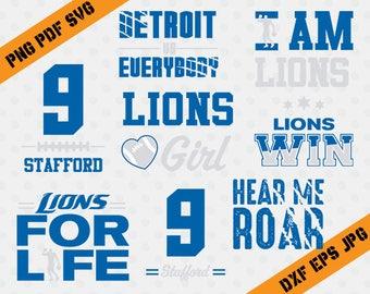 Detroit Lions, 9 Stafford football, team, cutting machines, T-shirt Design, Detroit Lions Silhouette, TT-034