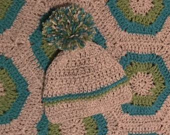 Crocheted Baby Blanket and Matching Hat