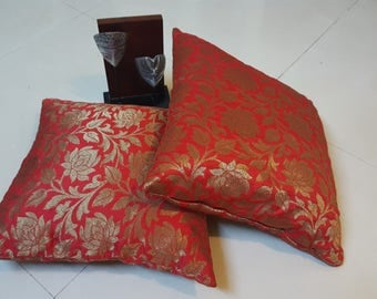 Pure Silk Red Brocade Cushion Cover