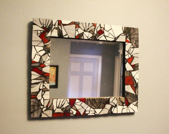 Mosaic Mirror Red/Gray