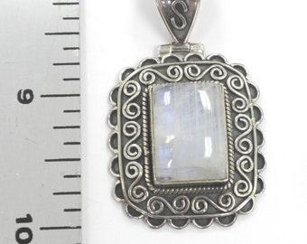 Nice Size Sterling Silver Pendant 11.8 Grams Hallmarked 925 Labradorite 18 x 13 mm