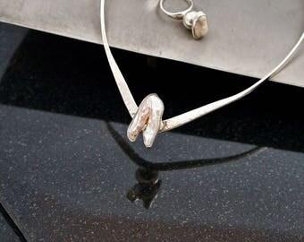 Kieshi Natural Pearl 925 Silver Choker