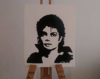 A4 Michael Jackson silhouette painting drawing - original art