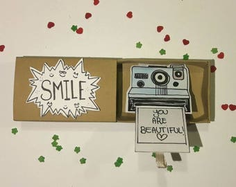 Smile/Photo beautiful little matchbox card!