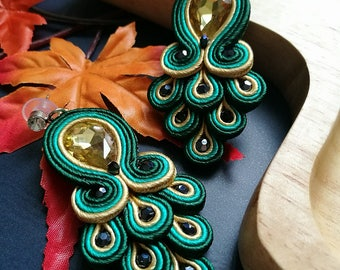 Elegant Yellow Crystal Soutache Peacock Earrings Statement Dangle Ethnic Boho Chic Green and Yellow Earrings