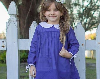 navy blue, blue, white, long sleeve, little girl's dress, classic, heirloom, boutique, custom design, girl's dress, church dress