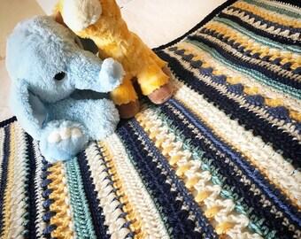 Snug518 Striped Baby Blanket, Crochet Throw, Afghan Baby Blanket