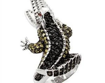 Ring - ref0w007 - rhodium - crocodile pattern - set with cz black green and Red
