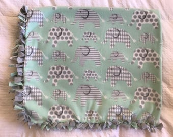 Elephant Fleece Tie Blanket   Animal Fleece Tie Blanket   Double Sided Baby Blanket   Safari Fleece Blanket   Toddler Blanket