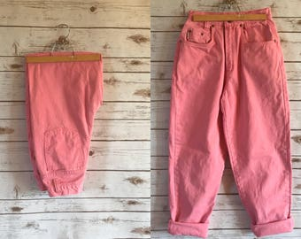 90's Paris Sport Club Pink Jeans, Vintage Paris Sport Club Bubble Gum Pink Denim Jeans Size 7
