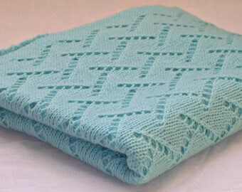 Baby blanket knit Stroller blanket Baby turquoise blanket Receiving knit blanket Baby boy knit blanket Baby shower gift Blanket for newborn