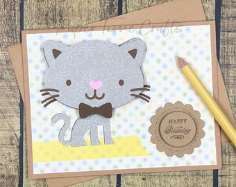 Kitty Bobble Head Action II - Birthday Card
