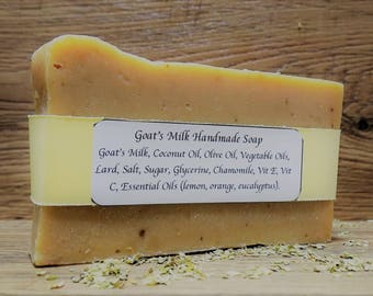 Goat Milk Handmade Bar Soap 4.6-5 oz- Coconut Oil -Olive Oil- Soap Cold Process- Gift Ideas- Natural-  Body Soap- Bath Soap- Gifts Under 10.