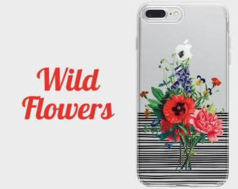 Wild flowers floral phone case, Samsung a5 case, Galaxy s7 case, iPhone 8 case, LG g6 case, HTC 10 case, Huawei p9 case, iPhone X case
