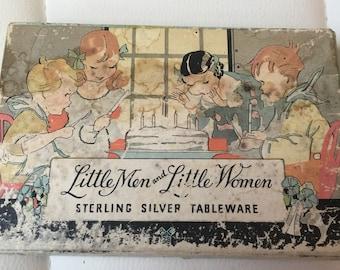 Sterling silver children's fork and spoon  little men & little women tableware