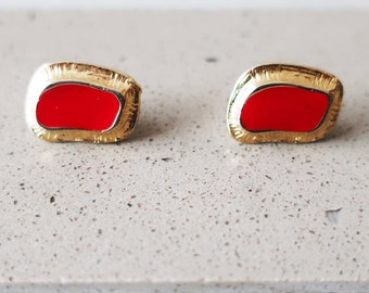 Vintage Button Earrings, Handmade Earrings, Geometric Earrings, Gold Earrings, Statement Earrings, Stud Earrings, Mother Gift, Gifts for Her