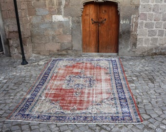 turkish anatoliasn home decorative rug floor rug 7.7x10.6 ft. Free Shipping tribal rug oushak rug pale color rug very rare rug MB189
