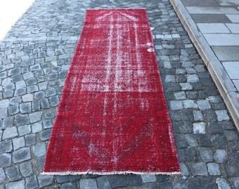 Red Color Overdyed Runner Rug Free Shipping 3 x 9.8 ft. Hallway Runner Rug, bohemian runner rug, oushak runner rug, decorative runner MB288