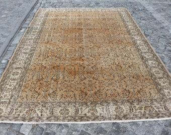 Orange color oversize rug, 7.1 x 10.3 ft. Free Shipping turkish rug, large size rug, low pile rug, anatolian boho rug, oushak rug, MB490