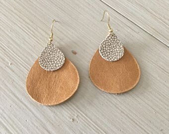 Leather stacked teardrop earrings/tan and snakeskin textured print/lightweight statement earrings