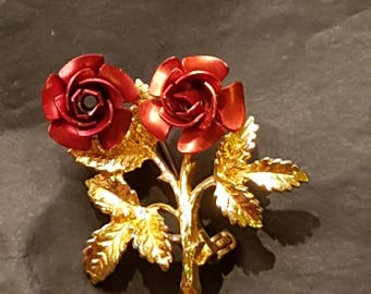 Vintage Signed Exquisite Double Metal Rose and Gold Tone Brooch