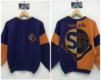 Rare!!! Vintage Santa fe Sweatshirt Big Logo Spell Out Embroidery Multicolours Crew Neck Sweatshirt Pullover Jumper Sweater Size M