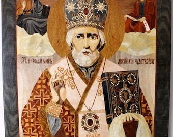 Icon of Saint Nicholas , Orthodox  icon ,inlay , woodworking ,wood mosaic