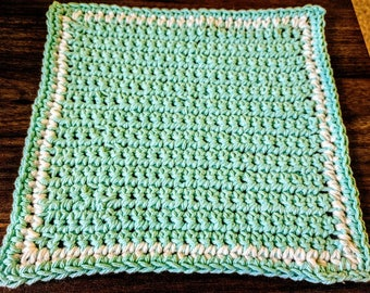 Sea Blue and White 100% Cotton Washcloth or Dishcloth