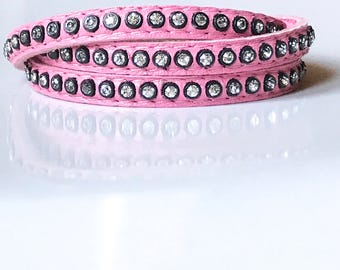 Triple Wrap Pink Leather with Swarovksi Crystals
