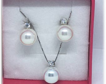 Complete sets earring necklace with zircons and silver Pearl 925% rhodium-plated