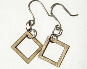 Geometric wood cutout earrings (multiple shapes and finishes)