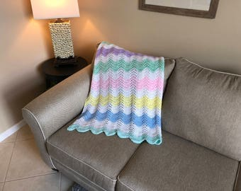 Pastel Wavy Ripple Baby Blanket/Afghan