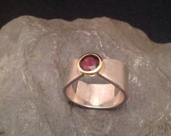 Beautiful silver ring 935er with Garnet