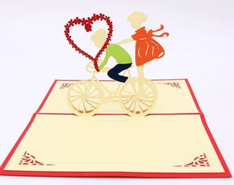 Handmade 3D Pop Up Greeting Cards for Valentines,Lovers,Couple's/ Valentines Day Gifts Cards (Valentine Riding)