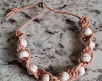 Natural Leather Bracelet with Tan Marble veined Beads