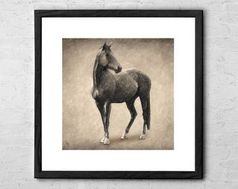 Le Cheval - Drawing - Horse Drawing - Horse - Horse Decor - Horse Art - Horse Painting - Horse Wall Art - Horse Print - Rustic Western Decor