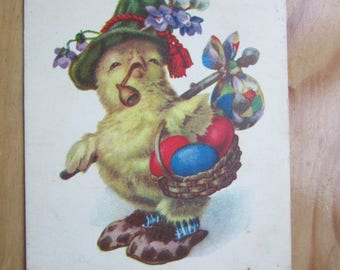 EASTER  Greeting  Postcard -  Chick with Pipe and basket with Eggs   1930ies